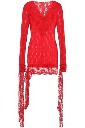 CHRISTOPHER KANE Lace-up stretch-lace mini dress