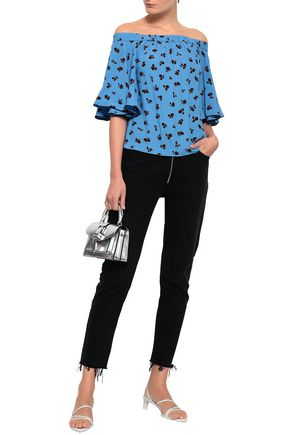 GANNI Roseburg off-the-shoulder printed washed-crepe blouse