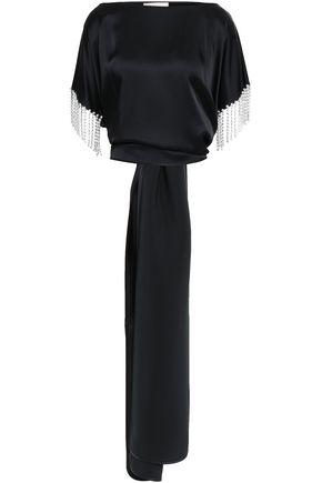 CHRISTOPHER KANE Fringed crystal-embellished satin top