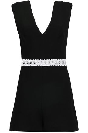 SANDRO Crochet-trimmed crepe playsuit