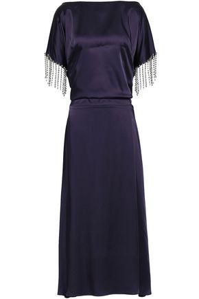 CHRISTOPHER KANE Cutout fringed crystal-embellished satin midi dress