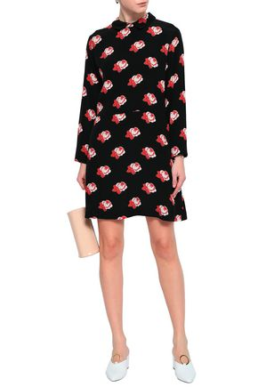 GANNI Floral-print crepe de chine mini shirt dress