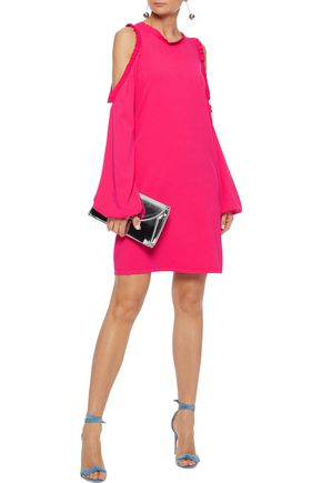 d4931bd0e9b7 MILLY Cold-shoulder ruffle-trimmed stretch-knit mini dress