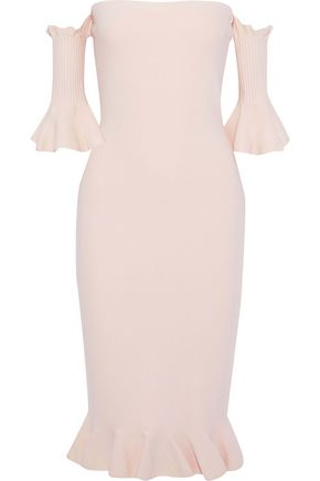 d6cee8cca4f1 Off-the-shoulder ruffle-trimmed stretch-knit dress   MILLY   Sale up ...