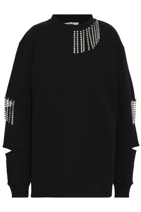 CHRISTOPHER KANE Crystal-embellished cutout French cotton-terry sweatshirt