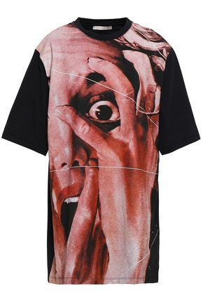 CHRISTOPHER KANE Paneled printed cotton-jersey T-shirt