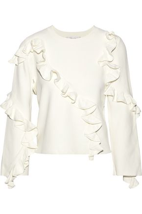 MILLY Ruffled stretch-knit sweater