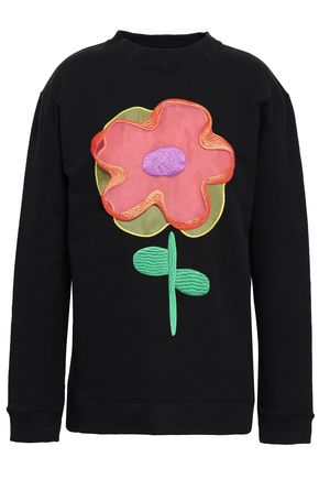 CHRISTOPHER KANE Floral-appliquéd French cotton-terry sweatshirt