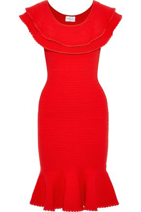 MILLY Tiered jacquard-knit dress