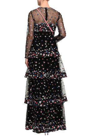 ヴァレンティノ ティアード 刺繍入り チュール&フローラルプリント クレープデシン ロングドレス