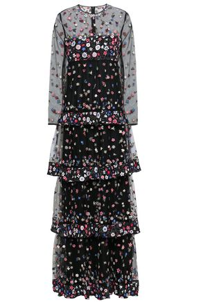 VALENTINO Tiered embroidered tulle and floral-print crepe de chine gown
