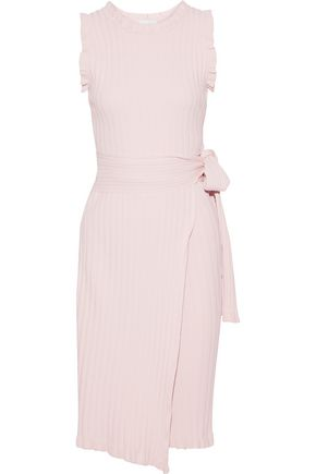 Ruffled Ribbed Knit Wrap Dress by Milly