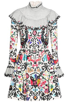 VALENTINO Ruffled embellished wool and silk-blend mini dress
