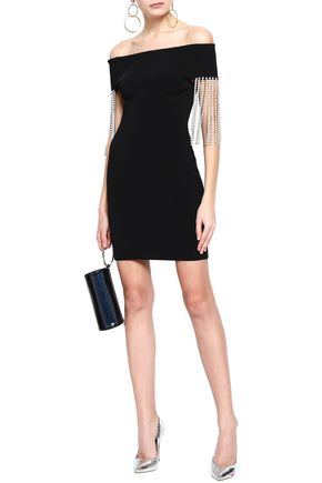 CHRISTOPHER KANE Off-the-shoulder crystal-embellished ponte mini dress