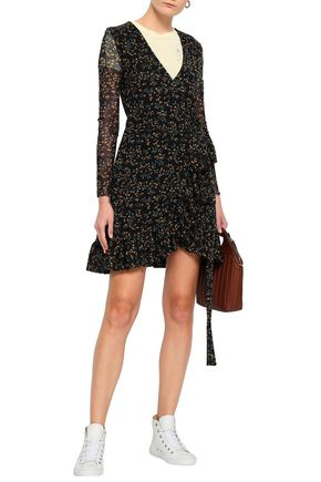 GANNI Floral-print mesh mini wrap dress