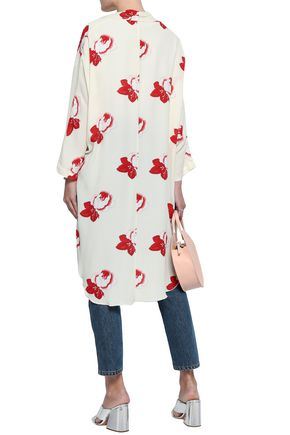 GANNI Harley tie-front floral-print washed-crepe kimono