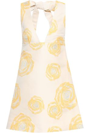 GANNI Turenne tie-back brocade mini dress