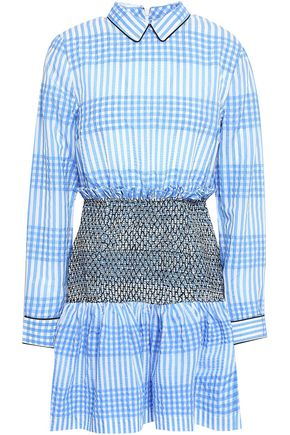 GANNI Charron smocked gingham cotton-blend seersucker mini dress