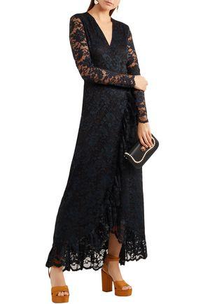fad408cc GANNI Flynn ruffle-trimmed lace maxi wrap dress