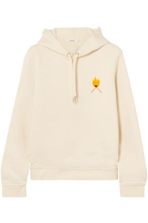 GANNI Lott Isoli embroidered cotton-jersey hooded sweatshirt