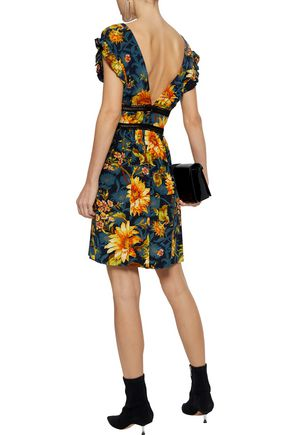 SANDRO Leonard crochet-trimmed floral-print silk mini dress