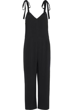 SANDRO Ellande cropped faux pearl-trimmed stretch-crepe jumpsuit