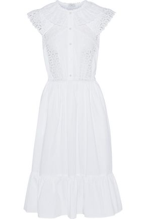 SANDRO Mick lace and broderie anglaise-paneled cotton-poplin dress