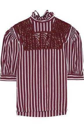 SANDRO Raphaelle crochet-paneled striped poplin blouse