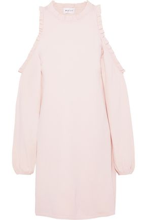 MILLY Cold-shoulder ruffle-trimmed knitted mini dress