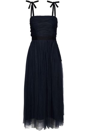 SANDRO Bishop satin-trimmed ruched tulle midi dress