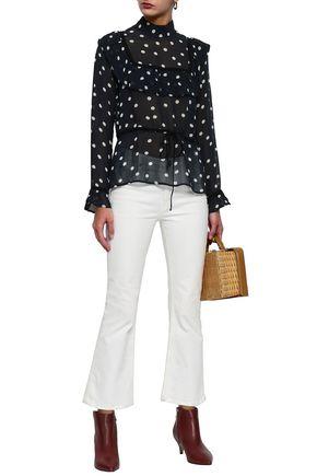 GANNI Marceau ruffled polka-dot georgette blouse