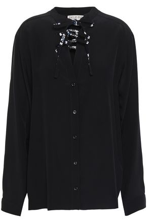 EMILIO PUCCI Lace-up silk crepe de chine shirt