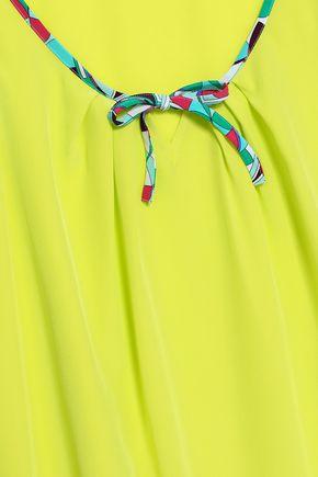 EMILIO PUCCI Printed-trimmed silk crepe de chine top