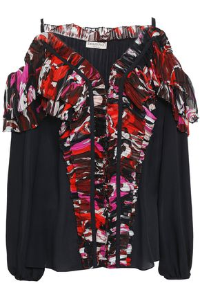 EMILIO PUCCI Cold-shoulder printed georgette-paneled silk crepe de chine blouse