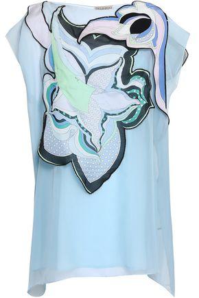 EMILIO PUCCI Draped printed silk-chiffon blouse