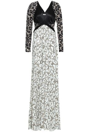 ROBERTO CAVALLI Paneled leopard-print satin and stretch-jersey gown