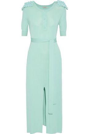 NINA RICCI Split-front embellished stretch-knit midi dress