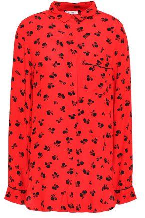 GANNI Emory printed crepe de chine shirt
