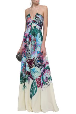 ROBERTO CAVALLI Gathered printed silk crepe de chine gown