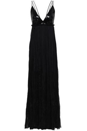 ROBERTO CAVALLI Sequin-paneled silk-blend georgette gown