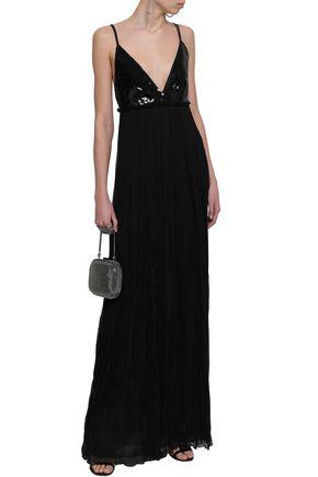 ROBERTO CAVALLI Sequin-paneled silk-blend georgette gown
