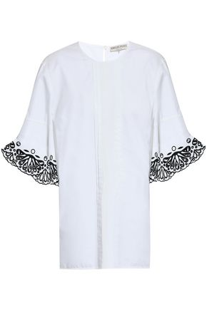 EMILIO PUCCI Embroidered cotton-poplin blouse