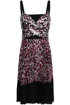 ROBERTO CAVALLI Sequined printed silk crepe de chine dress