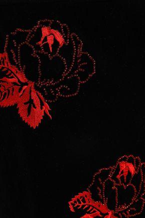 GANNI Jermyn embroidered velvet top