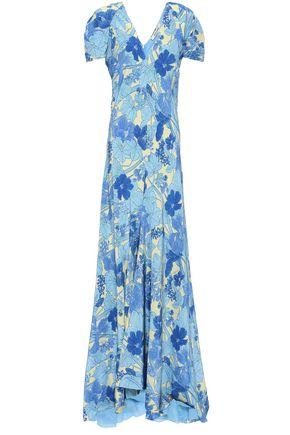 ROBERTO CAVALLI Floral-print silk maxi dress