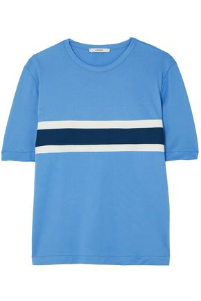 GANNI Dubois striped stretch-piqué T-shirt