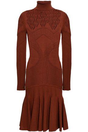 ROBERTO CAVALLI Pleated pointelle-knit dress