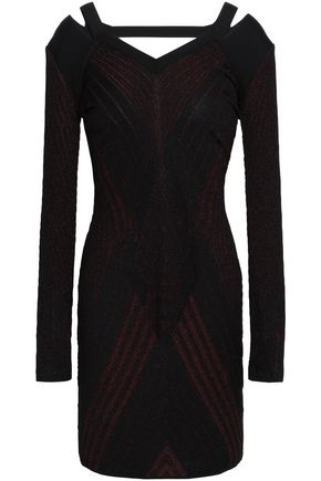ROBERTO CAVALLI Cutout metallic jacquard-knit mini dress