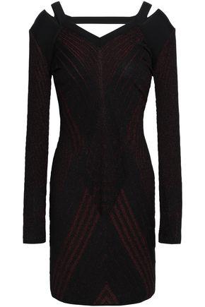 ROBERTO CAVALLI Cutout metallic jacquard-knit mini dress