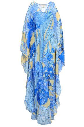 ROBERTO CAVALLI Cold-shoulder printed silk-georgette maxi dress